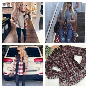 Maurices Plaid Long Sleeve Button Down Shirt SizeM